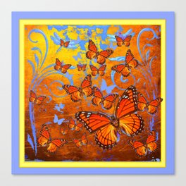Caramel Browns & Pale Blue  Monarch  Butterflies with Yellow Canvas Print
