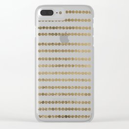 Elegant faux gold white modern minimal polka dots stripes Clear iPhone Case