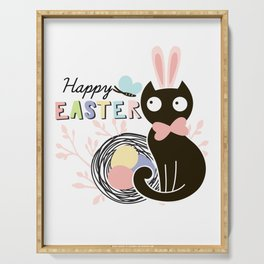 Happy Easter - Cute Black Cat with pink Bunny ear and blue Spring butterfly Serving Tray
