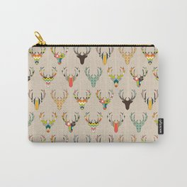 retro deer head on linen Carry-All Pouch