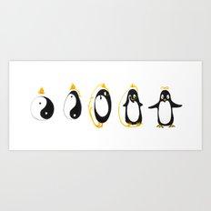 Yin Yang Penguin Art Print