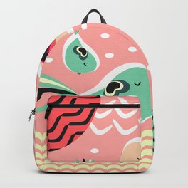 Funny birds in pink and blue Backpack