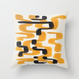 Mid Century Modern Abstract Painting Antique Yellow Black Funky Wiggle Pattern Throw Pillow