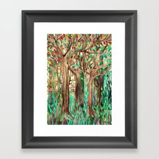 Walking through the Forest - watercolor painting collage Framed Art Print