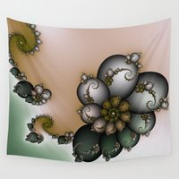 novelty Wall Tapestries featuring Trinket Flower Fractal by Moody Muse