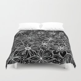 Floral Pattern Black and White Duvet Cover