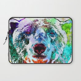 Polar Bear Watercolor Grunge Laptop Sleeve