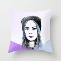 gemma correll Throw Pillows featuring Gemma by bylosangeles