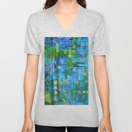 Abstract Blue Blue Unisex V-Neck
