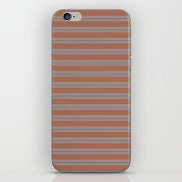 Cavern Clay Warm Terra Cotta SW 7701 Horizontal Line Patterns 1 on Slate Violet Gray iPhone Skin