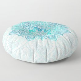 Turquoise Lace Mandala Floor Pillow