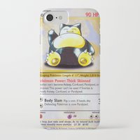 snorlax iPhone & iPod Cases featuring Snorlax Card by Neon Monsters