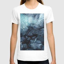 Moody Ocean Seas Ink Abstract Painting T-shirt