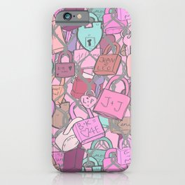 Love Locks Fence in Rose Champagne iPhone Case