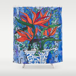 Birds of Paradise in Blue After Matisse Shower Curtain