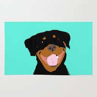 rottweiler Area & Throw Rugs featuring Rottweiler graphic on Mint by Moni & Dog