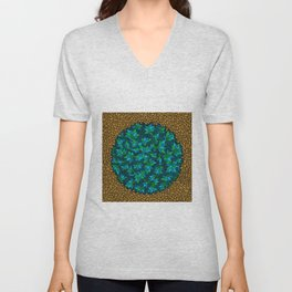 - blue flore in cosmogold - Unisex V-Neck