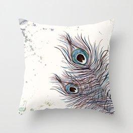 BOHO PEACOCK FEATHER Throw Pillow
