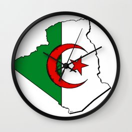 Algeria Map with Algerian Flag Wall Clock