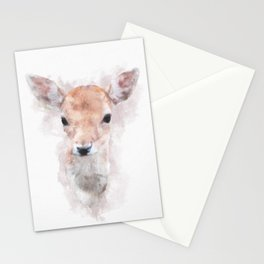 Watercolour deer fawn baby animal nursery kids room pastel pink Stationery Cards