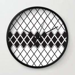 Rhombs Black and white pattern Wall Clock