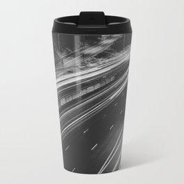 Seattle at Night - Black and White Travel Mug