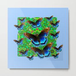 EXOTIC BLUE-BROWN BUTTERFLY ART Metal Print