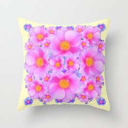 Pink ROSES & CREAM COLOR ART Throw Pillow
