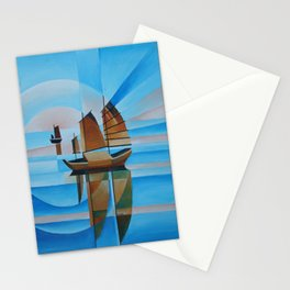 Soft Skies, Cerulean Seas and Cubist Junks Stationery Cards