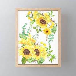 yellow sunflower arrangement watercolor 2021  Framed Mini Art Print