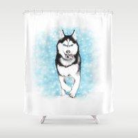 husky Shower Curtains featuring Siberian Husky by Evey studios