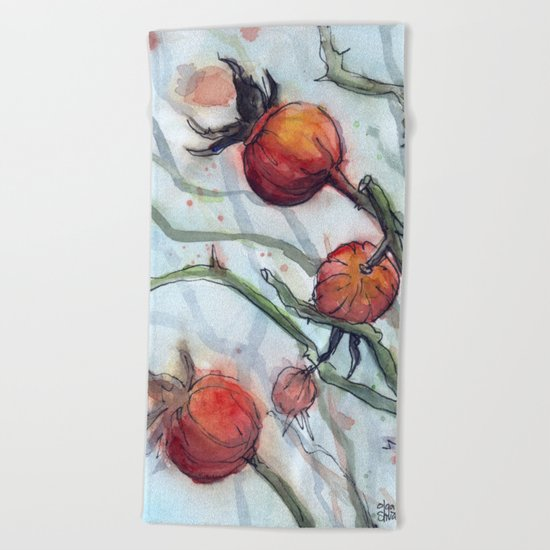Rose Hips Abstract Watercolor Nature Beach Towel