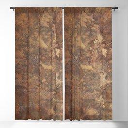 N47 - Golden Antique Rustic & Farmhouse Vintage Texture Blackout Curtain