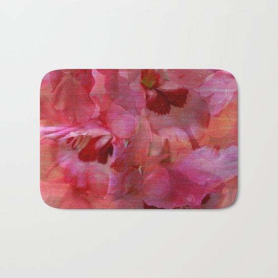 Vintage Pink Gladiola Abstract Bath Mat