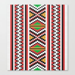 Slavic cross stitch pattern with red green orange black white Canvas Print