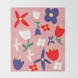 Large Handdrawn Bacchanal Floral Pop Art Print Throw Blanket