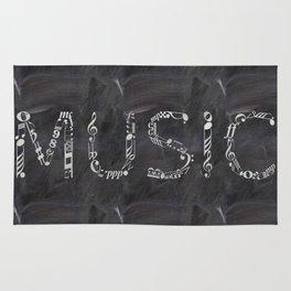 Music typo on chalkboard Rug