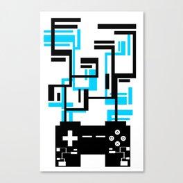 8-BIT JOYSTICK (BLUE AND BLACK) Canvas Print