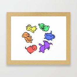 Rainbow Puppies - Loop Framed Art Print