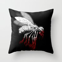 politics Throw Pillows featuring INSECT POLITICS by BeastWreck