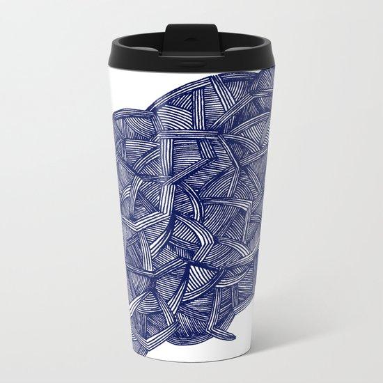 - blue lines - Metal Travel Mug