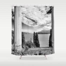 Roman Ruins, Garda, Sirmione, Italy landscape coastal black and white photograph / art photography  Shower Curtain