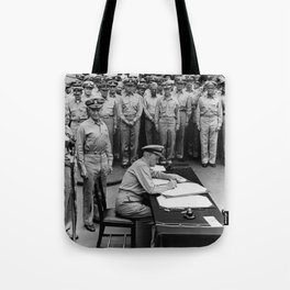 Admiral Nimitz Signing The Japanese Surrender Tote Bag