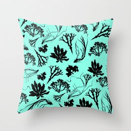 Seaweed Mint Green Pattern Throw Pillow
