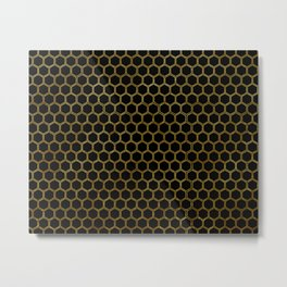 Honeycomb Black and Gold Metal Print