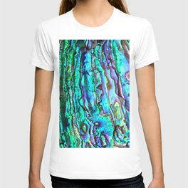 Glowing Aqua Abalone Shell Mother of Pearl T-shirt