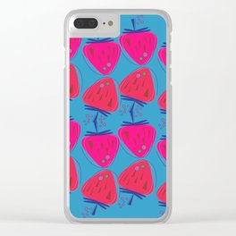 Design strawberries pink on blue Clear iPhone Case
