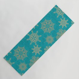 Winter Pattern (turquoise/golden) Yoga Mat