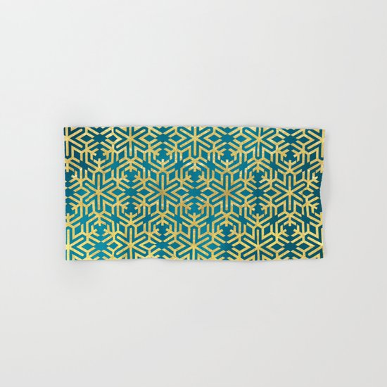 Turquoise and Gold Snowflake Pattern Hand & Bath Towel