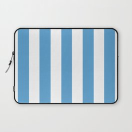 Carolina blue - solid color - white vertical lines pattern Laptop Sleeve